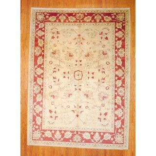 Afghan Hand knotted Vegetable Dye Ivory/ Beige Wool Rug (95 x 132)