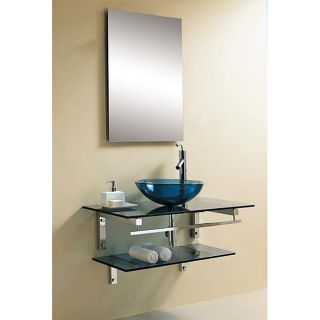 DreamLine 35 inch Modern Wall mounted Blue Glass Vanity Set