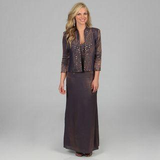 Karen Miller Womens Formal Embellished Jacket and Long Dress Set
