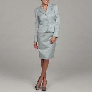 Tahari Womens Dove Blue Jacquard Skirt Suit