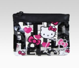 Hello Kitty Vinyl Cosmetic Pouch Black Quilt Shoes