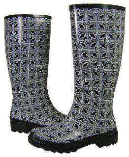 Tory Burch Logo Rubber Rain Boots Black Metal Melange Shoes