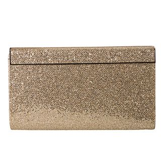 Jimmy Choo Cayla Gold Glitter Fabric Clutch