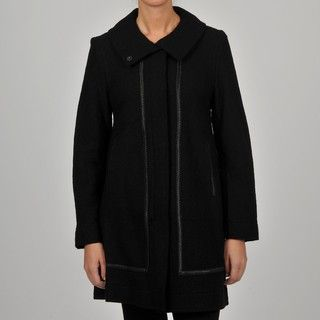 Hilary Radley Collection Womens Black Faux Leather Trim Wool Walker