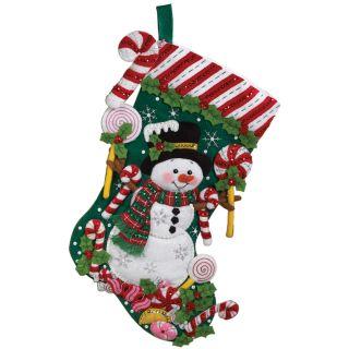 Candy Snowman Stocking Felt Applique Kit 18 Long Today: $19.99