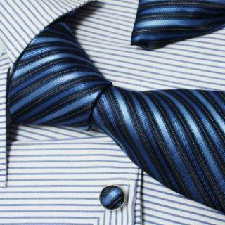 Blue Black Stripes Woven Silk Tie Hanky Mens Necktie