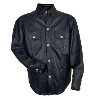 Mossi Mens Black Leather Shirt