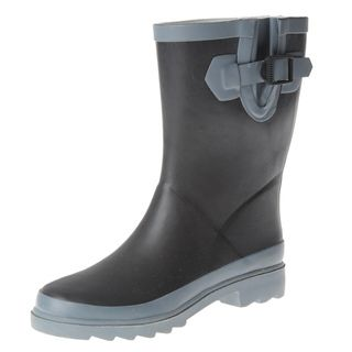 Henry Ferrera Womens Black Colorblocked Mid Calf Rain Boot
