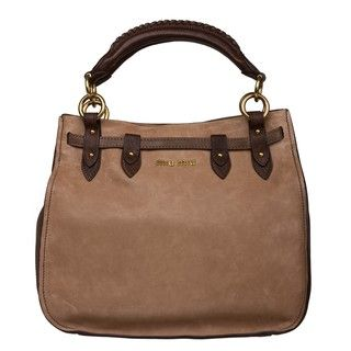 Miu Miu Light Brown / Dark Brown Leather Satchel Bag