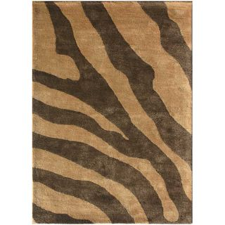 Wool and Art Silk Brown Zebra Print Rug (8 x 11)