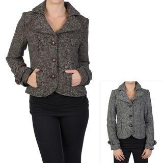 Journee Collection Juniors Buttoned Short Herringbone Tweed Coat