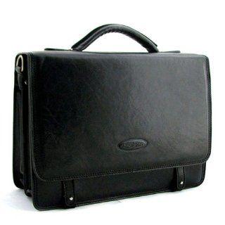 Scott Luxury Black Leather Mens Satchel (Battista)   One Size Shoes