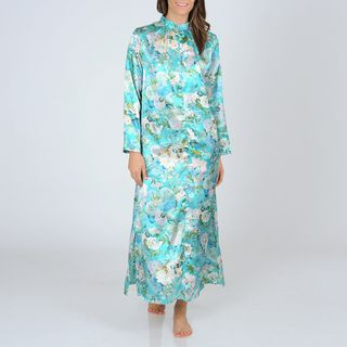 La Cera WomensTeal Floral Print Zip front Robe