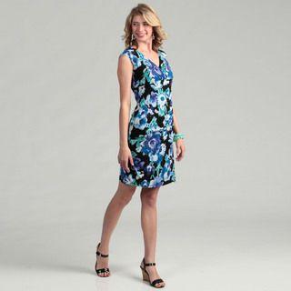 Jessica Howard Womens Black/ Blue Floral Surplice Dress