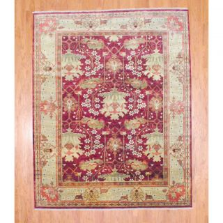 Indo Hand knotted Oushak Burgundy/ Light Green Wool Rug (84 x 104