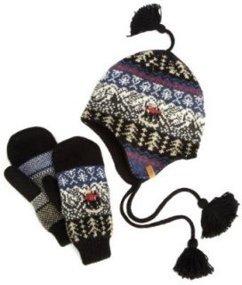 Woolrich Womens Peruvian Hat Mitten Set, Black, One Size