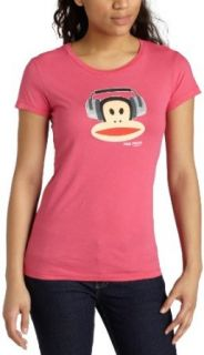 Paul Frank Juniors Julius Headphones T Shirt,Racy Pink,X