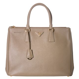 Prada Womens Lux Beige Saffiano Leather Tote Handbag