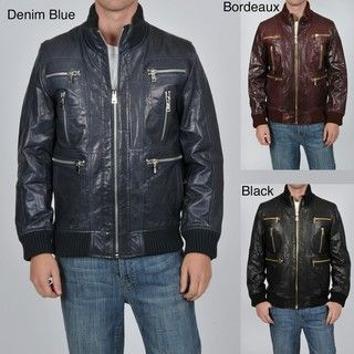 Knoles & Carter Mens Big and Tall Multi Zip Leather Bomber Jacket
