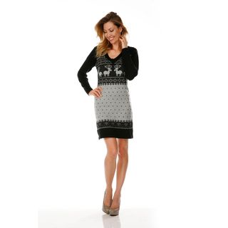 White Mark Womens Boston Black/ Grey Sweater Dress