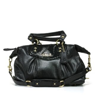 Coach Ashley Black Leather Satchel Handbag
