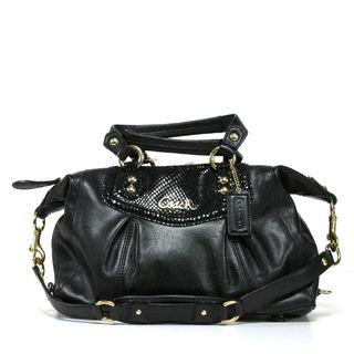 Coach Ashley Black Leather Satchel Handbag