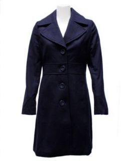 Ladies Navy Blue 4 Button Long Pea Coat Wool Blend