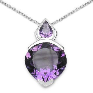 Malaika Sterling Silver Heart shaped Genuine Amethyst Necklace