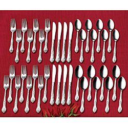 . Rose Elegance Stainless Steel 40 piece Flatware Set