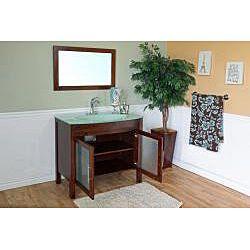 Walnut 39.4 inch Birch Wood Single Bathroom Vanity and Sink