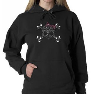 Los Angeles Pop Art Womens Rhinestone Skull Cotton Hoodie