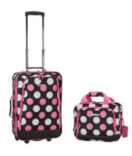 Rockland Luggage 2 Piece Printed Luggage Set, Mulpink Dots