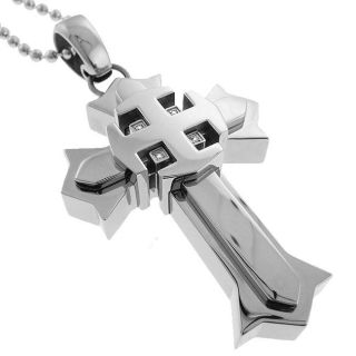 Black and Blue Jewelry Stainless Steel Diamond Chunky Cross Necklace