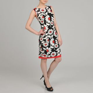 Lennie for Nina Leonard Womens Black/White Floral Print Sheath Dress