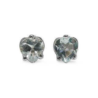 Malaika Sterling Silver Heart cut Aquamarine Stud Earrings MSRP $57