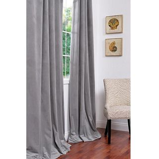 Signature Silver Grey Velvet 108 inch Blackout Curtain Panel