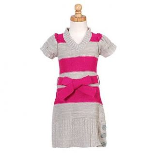 Little Girls Pink Grey Striped Sweater Tie Dress 6X