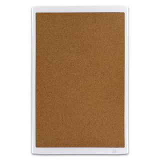 Magnetic Natural Cork Bulletin Board/White Plastic Frame (11 x 17
