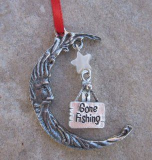 Gone Fishing Sign with Moon Christmas Onrament Sports