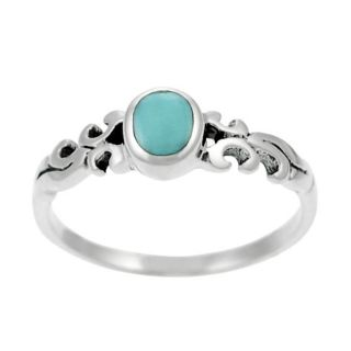 Tressa Sterling Silver Inlaid Oval cut Turquoise Ring