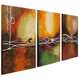 Hand painted Oil Abstract Canvas Art (Set of 3)