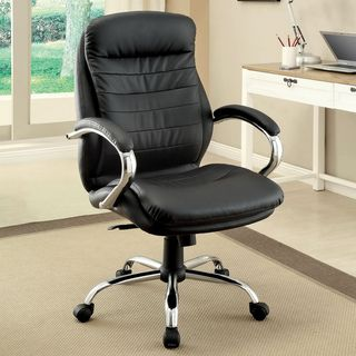 Enitial Lab Black Double Padded Leatherette Adjustable Office Chair