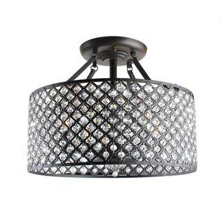 Antique Bronze 4 light Round Crystal Ceiling Chandelier