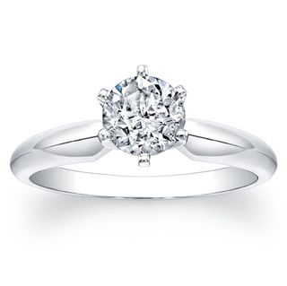 14k White Gold Certified Diamond Engagement Solitaire Ring (F G, I1 I2