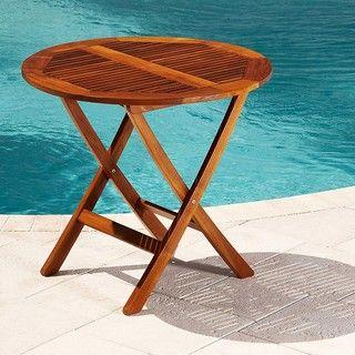 Premium Teak Folding Patio and Outdoor Round Table