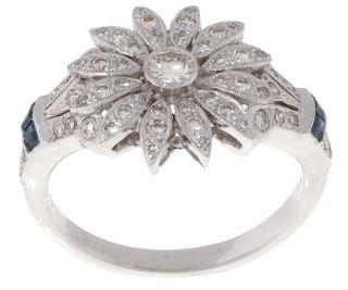 18 kt. White Gold 1/2 carat Diamond Sapphire Sunburst Ring