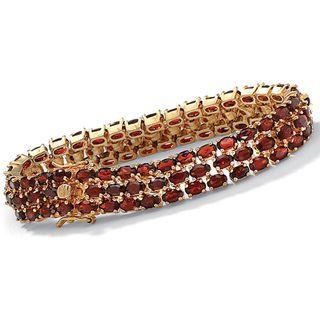 Angelina DAndrea 18k Yellow Gold over Sterling Silver Garnet Bracelet