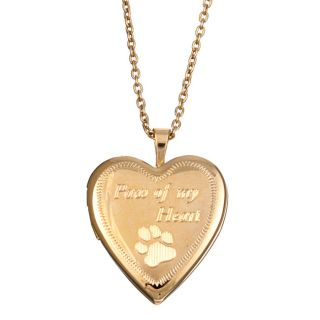 Engraved Paw of my Heart 20 mm Heart Locket Necklace