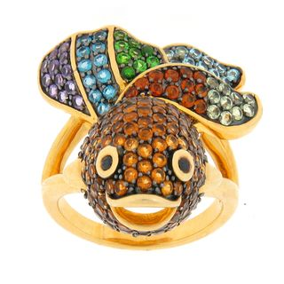 Meredith Leigh Gold over Silver Multi gemstone Fish Ring