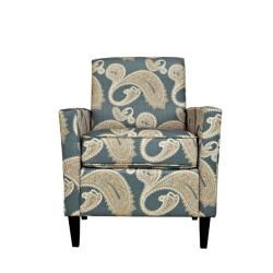 angeloHOME Sutton Feathered Paisley French Blue Arm Chair